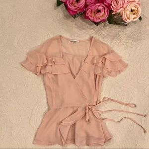 June and Hudson Pink Ruffle Wrap Blouse/ Nordstrom